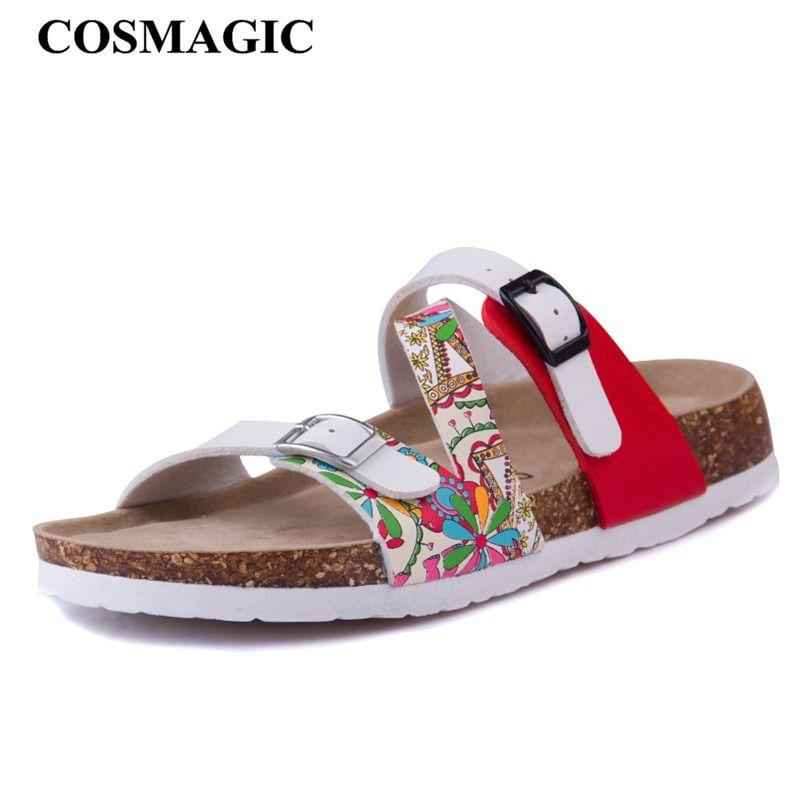 COSMAGIC Fashion Print Cork Slipper 2018 New Summer Women Patchwork Beach  Slides Double Buckle Flip Flops 0c47dc62adc3