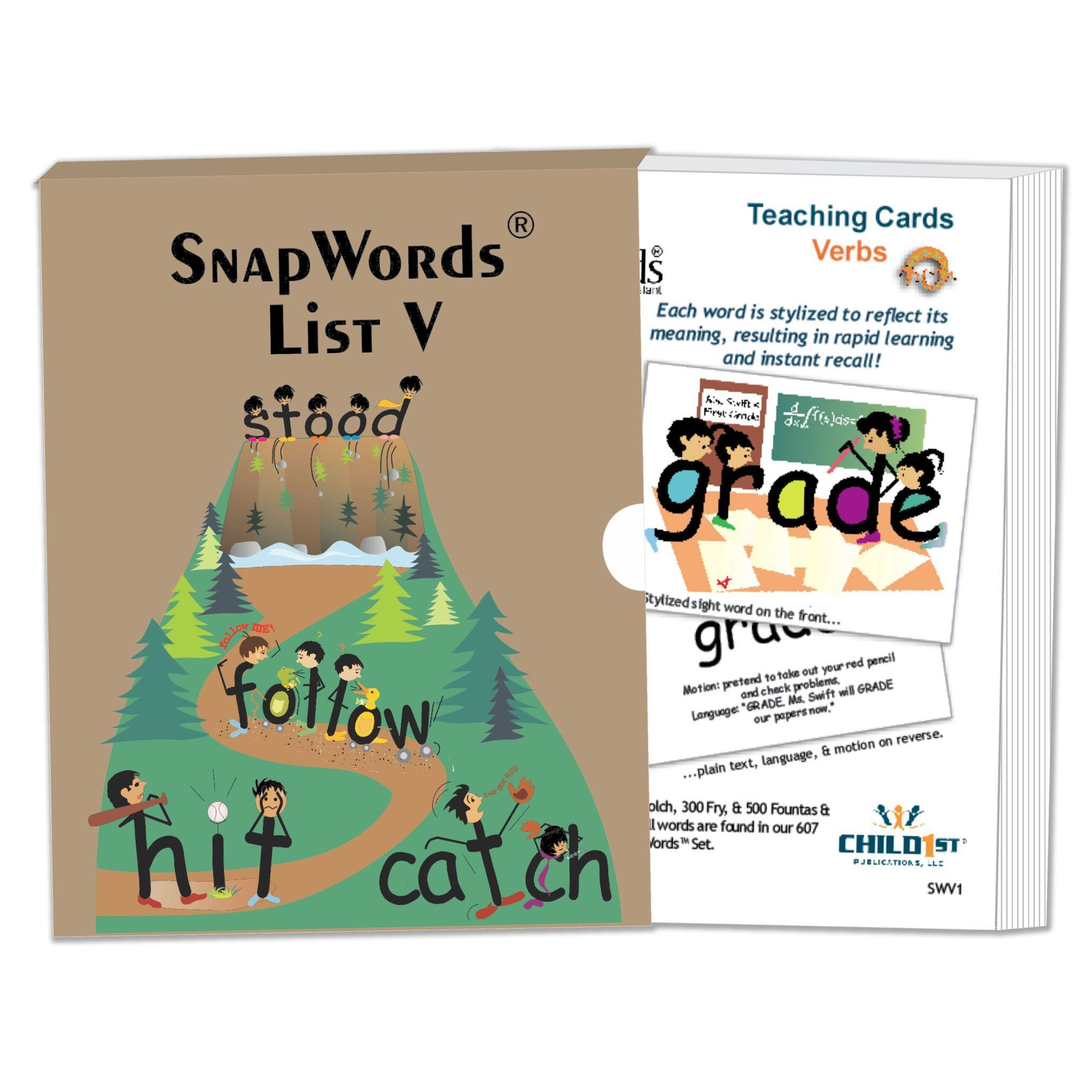 Bilingual dolphin counting card 6 clipart etc - Snapwords Verbs Teaching Cards