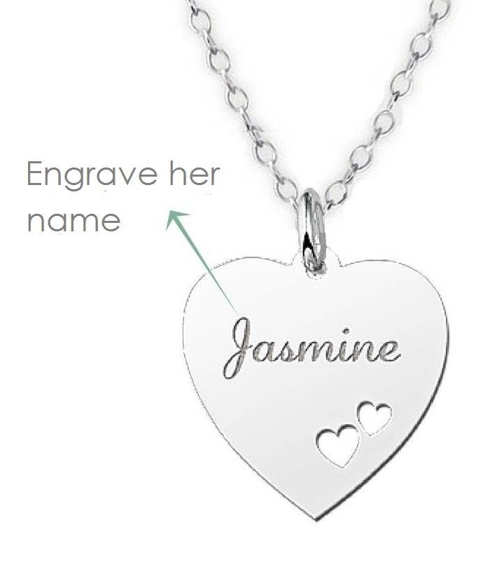 Silver engraved heart name necklace girls necklaces pinterest silver engraved heart name necklace aloadofball Gallery