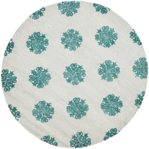Soho Ivory and Light Blue Round: 6 Ft. In. x 6 Ft. In. Area Rug - (In Round)