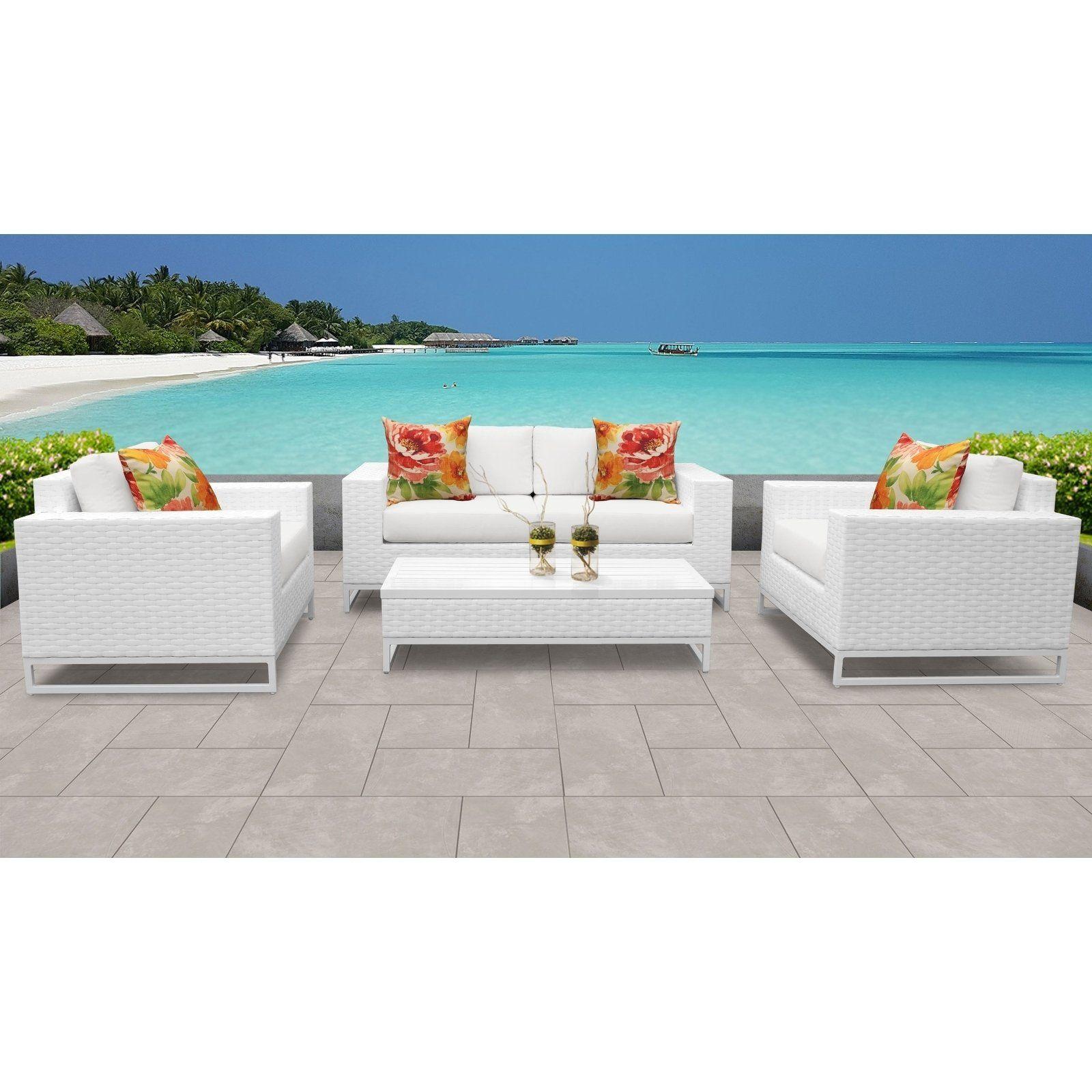 Miami 5 Piece Outdoor Wicker Patio Furniture Set 05f White Tk