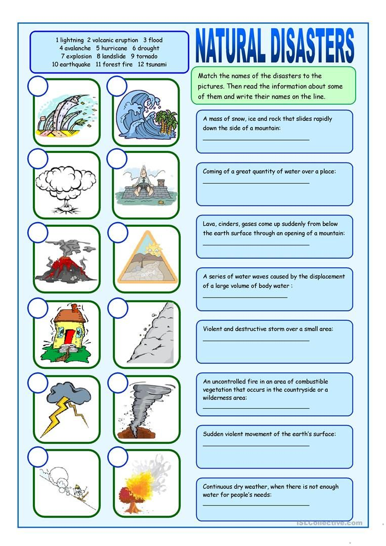 Natural Disasters Matching Exercises worksheet - Free ESL printable  worksheet…   Natural disasters for kids [ 1079 x 763 Pixel ]