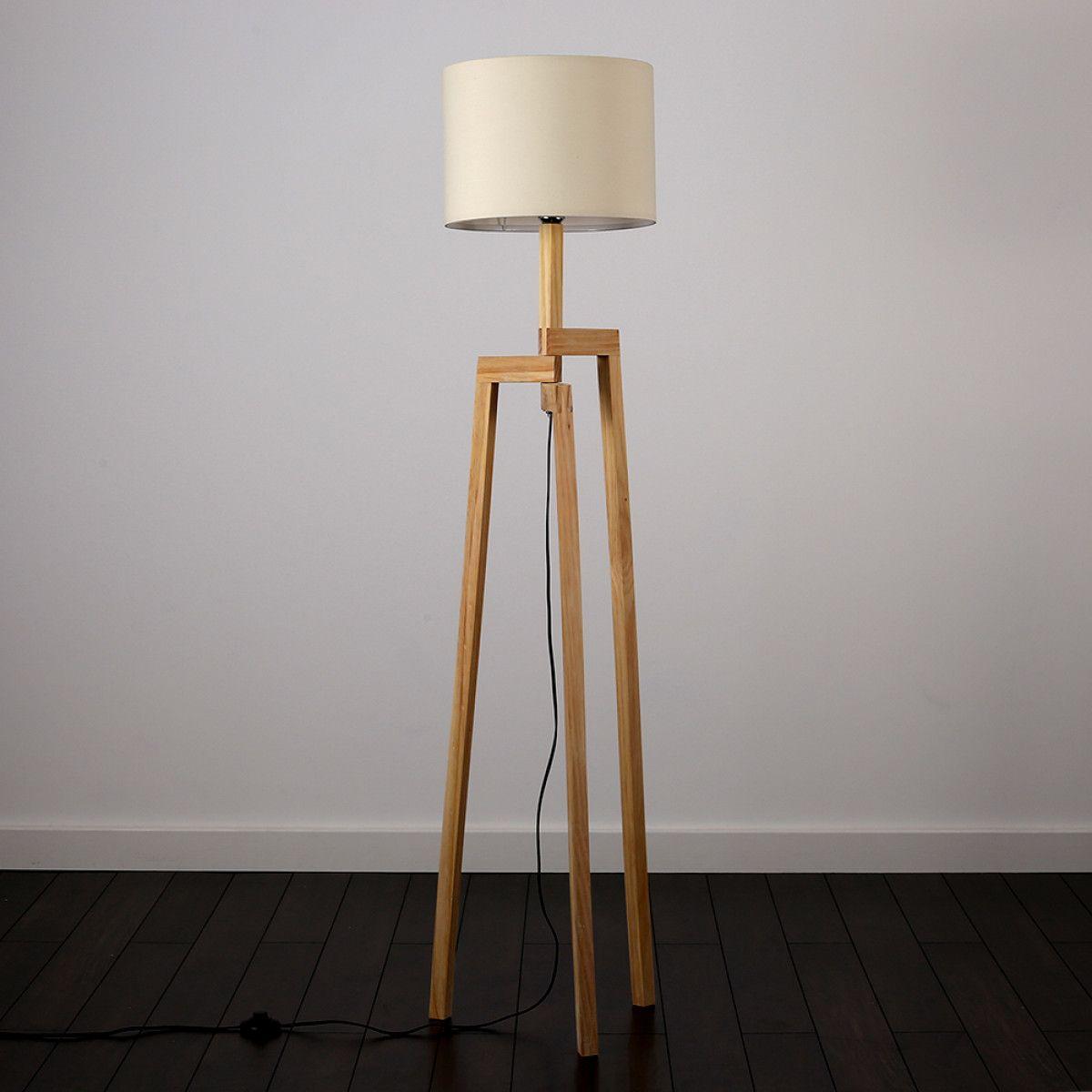 Scandinavian Style Karlov Wooden Tripod Floor Lamp With Cream Shade Tripod Floor Lamps Wooden Tripod Floor Lamp Lamp