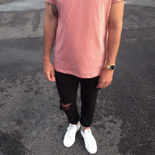 Pink Shirt Black Ripped Jeans Shoes Street Wear Xx