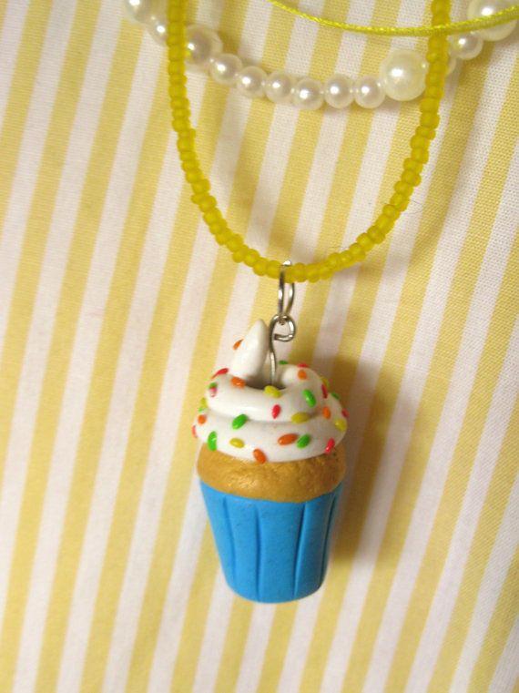 Cupcake Charm Bead Necklace Handmade