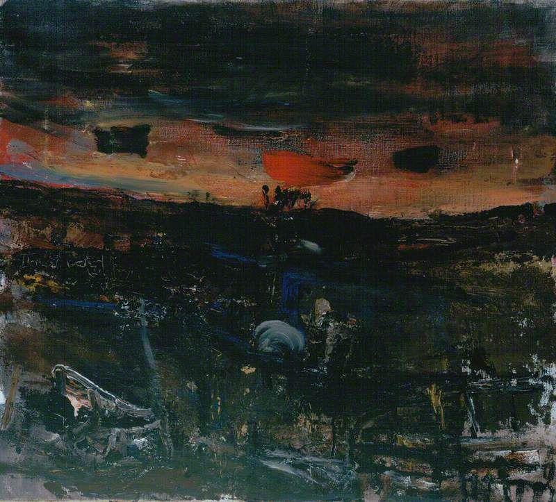 Joan Eardley (1921–1963). Setting Sun over Fields, c.1955–1963 Oil on canvas, 46.5 x 51.5 cm