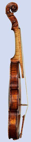 Neck, bass side, Amati Violino Piccolo, 1613, showing baroque neck angle