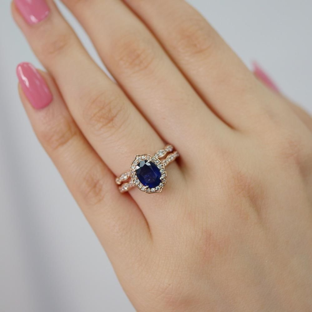Oval Vintage Floral Bridal Set In Scalloped Band W Natural Sapphire And Diamond Sapphire Engagement Ring Blue Unique Engagement Rings Vintage Engagement Rings