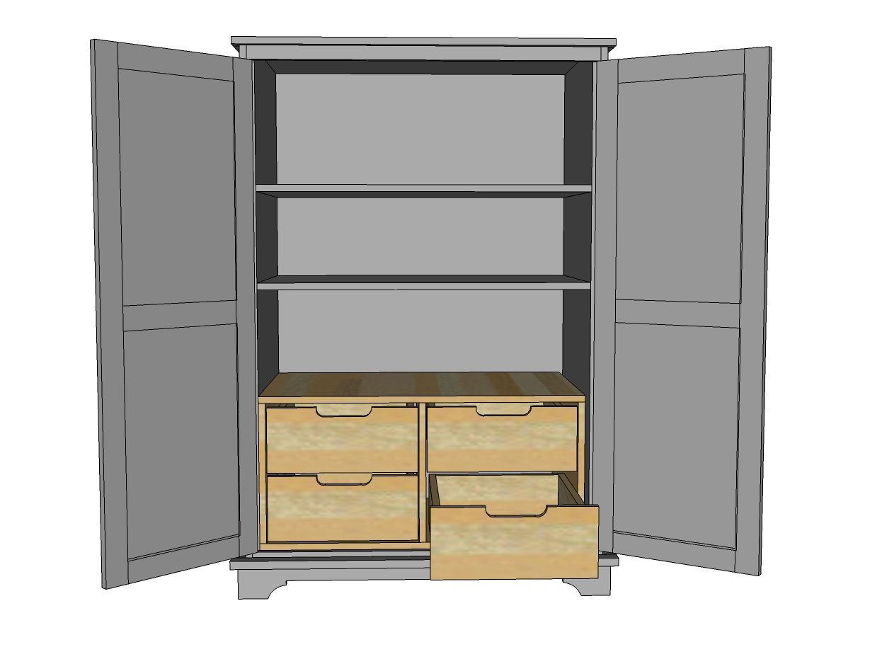 Ana White  Build A Toy Or TV Armoire Drawer Insert PANTRY ADD MIRRORS  ON DOORS BOOM White Armoire With Drawers90