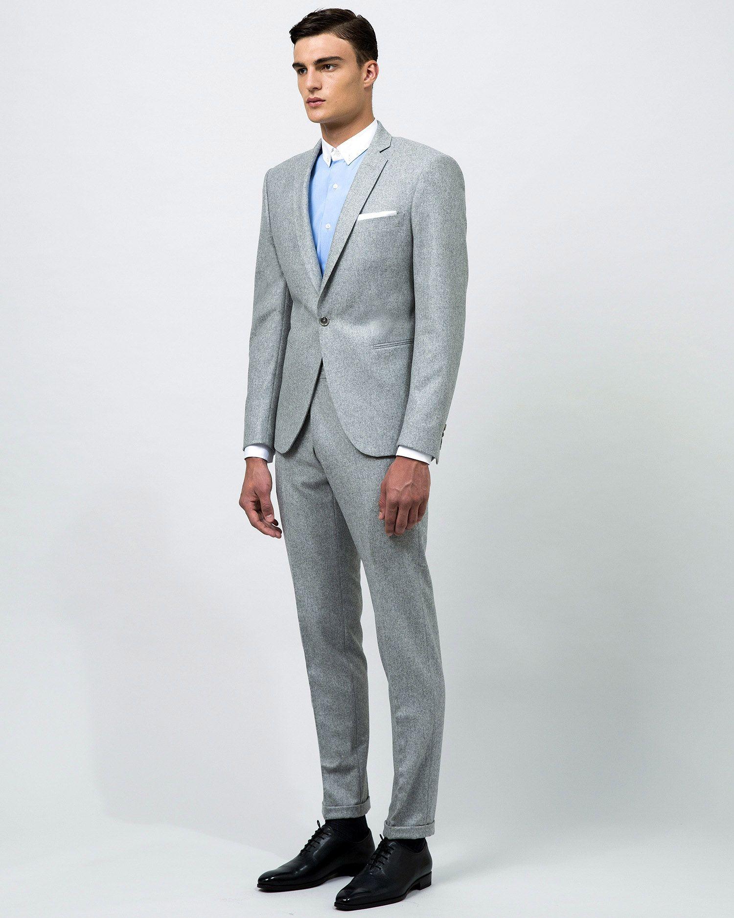 Costume sur mesure flanelle gris clair 1 bouton revers troits 2 poches droites sans rabats - Costume homme gris clair ...
