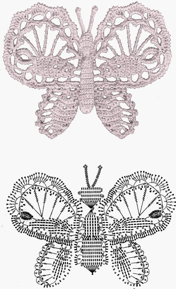 Butterfly | Crochet Patterns/ Diagrams/ Tutorial / Virkkaus ohjeita ...