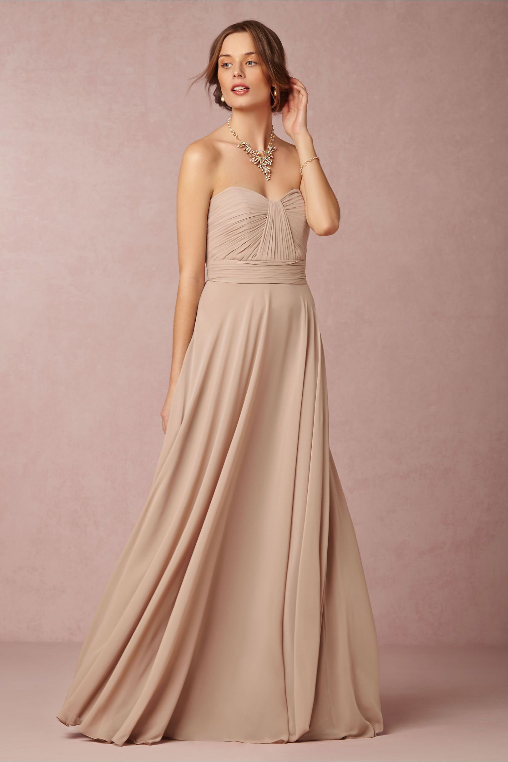 nude neutral bridesmaids dress | Quinn Dress in umber from @BHLDN ...
