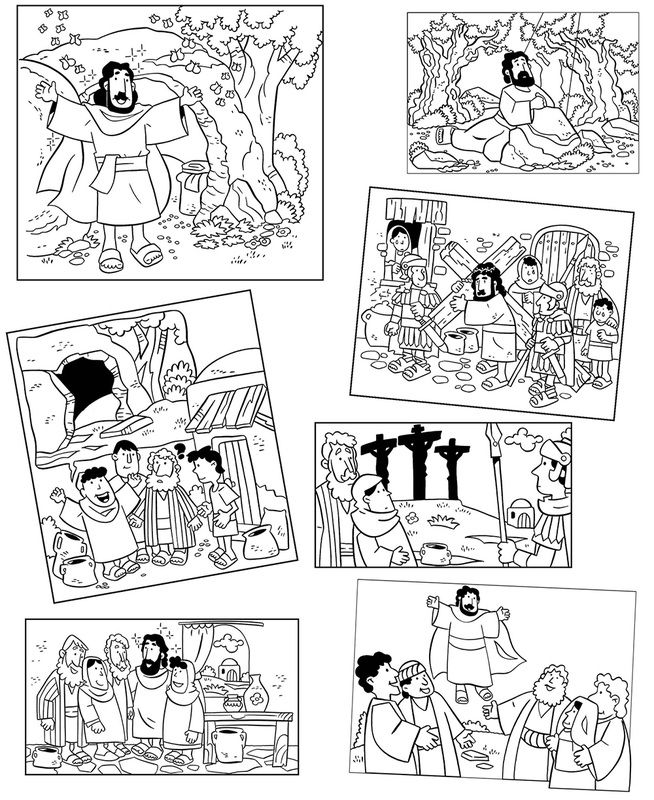 Easter story coloring pages Also good for sequence game Decrease - copy coloring sheets of santa for free
