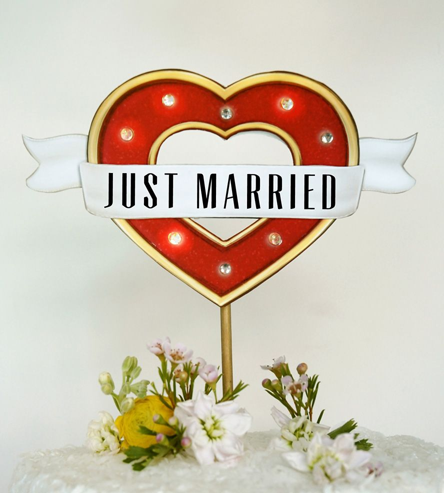 Just married u heart marquee light cake topper reds and yellows