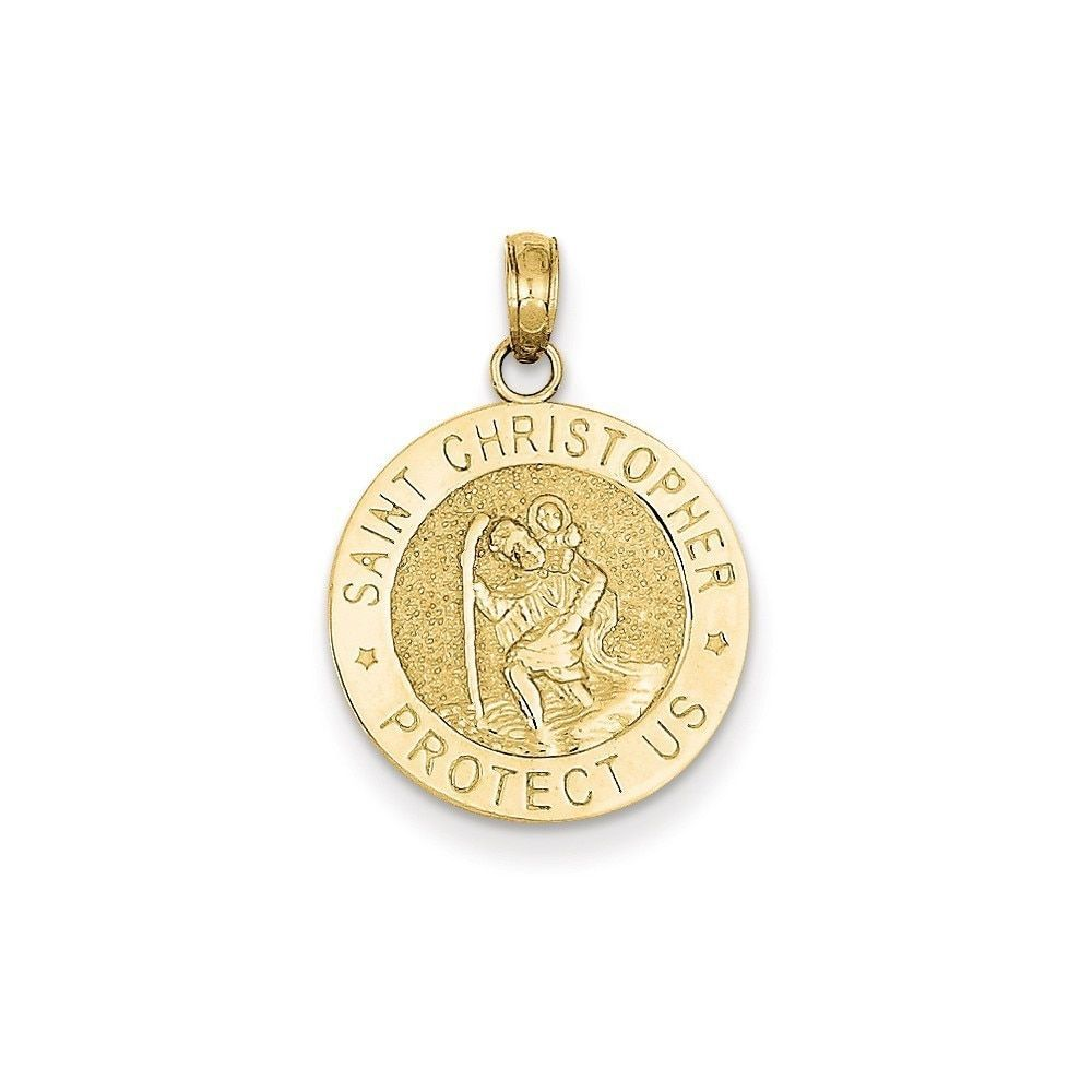 Christopher Medal Pendant Perfect Jewelry Gift 14k Polished and Satin St