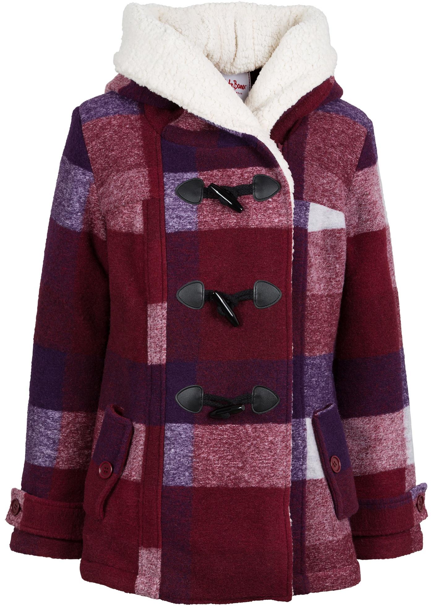 fd30c8e4b4b Vlněná bunda s medvídkovou podšívkou tmavě červeno-fialová kostkovaná -  koupit online - bonprix.