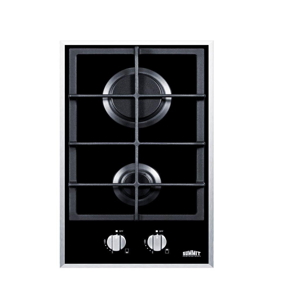 Summit Appliance 12 In Gas On Glass Cooktop In Black With 2 Burners Gc2bgl Glass Cooktop Gas Cooktop Iron Grate