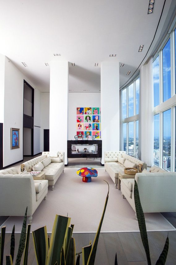 The living room of a three-story penthouse at the top of Las Olas River House, a condominium in downtown Fort Lauderdale.