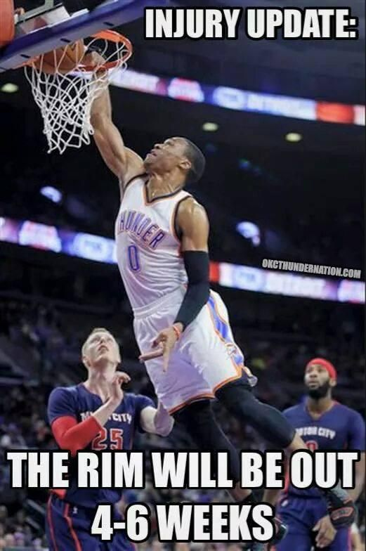 Russell Westbrook Dunk So Hard That The Rim Is Out Due To Injury Lol Http Nbafunnymeme Com Nba Memes Funny Basketball Memes Sports Memes Basketball Funny