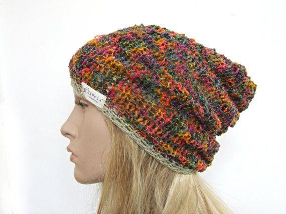 Hippy hippie hat knit hat gypsy hat slouchy beanie hat  44f921132b0