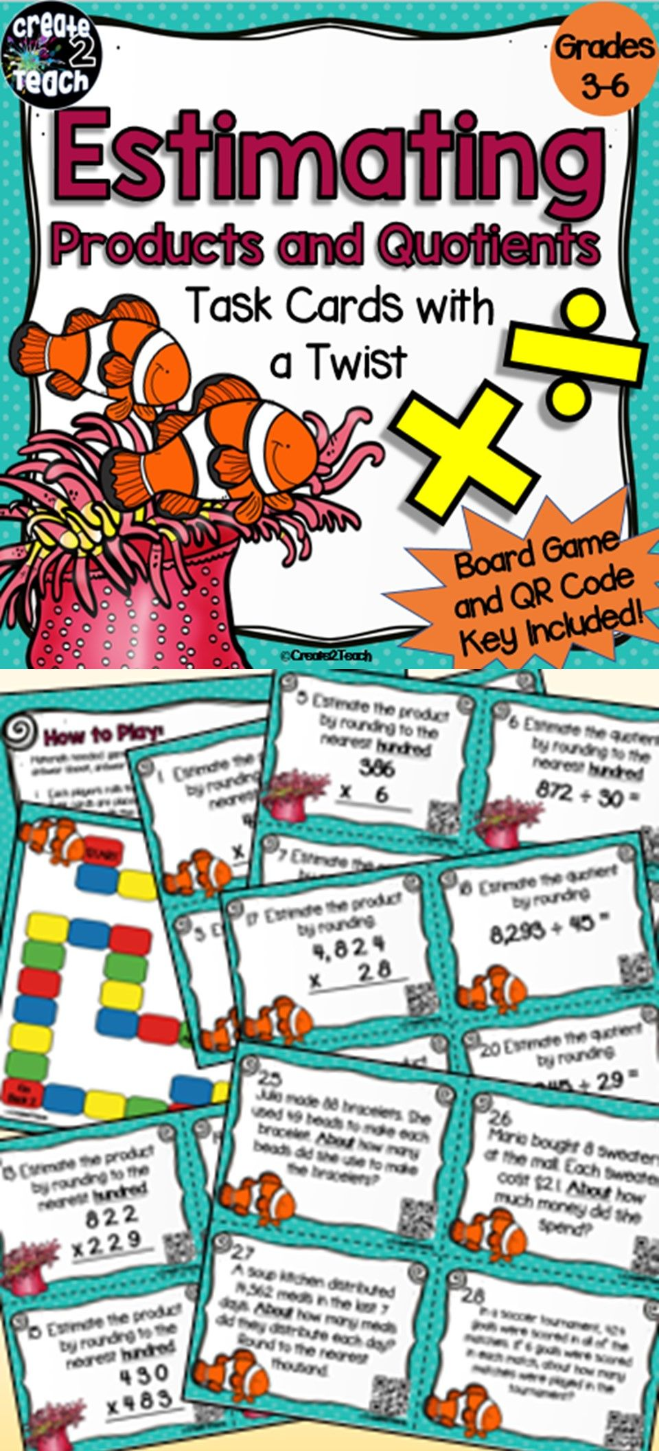 Estimating Products and Quotients Task Card Board Game | Game boards ...