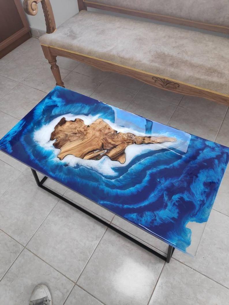 Meuble Avec Resine Epoxy art chypre mer rivi�re table basse avec r�sine �poxy bleu et