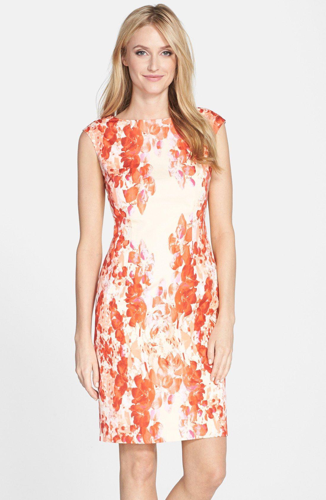 Adrianna Papell Floral Print Crêpe de Chine Sheath Dress ...
