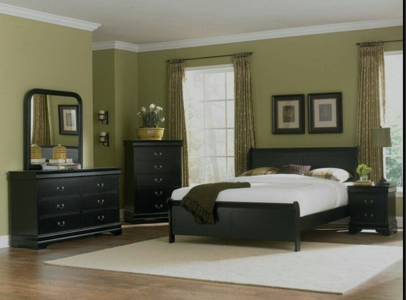 Sage Walls Black Furniture Bedroom Furniture Layout Bedroom