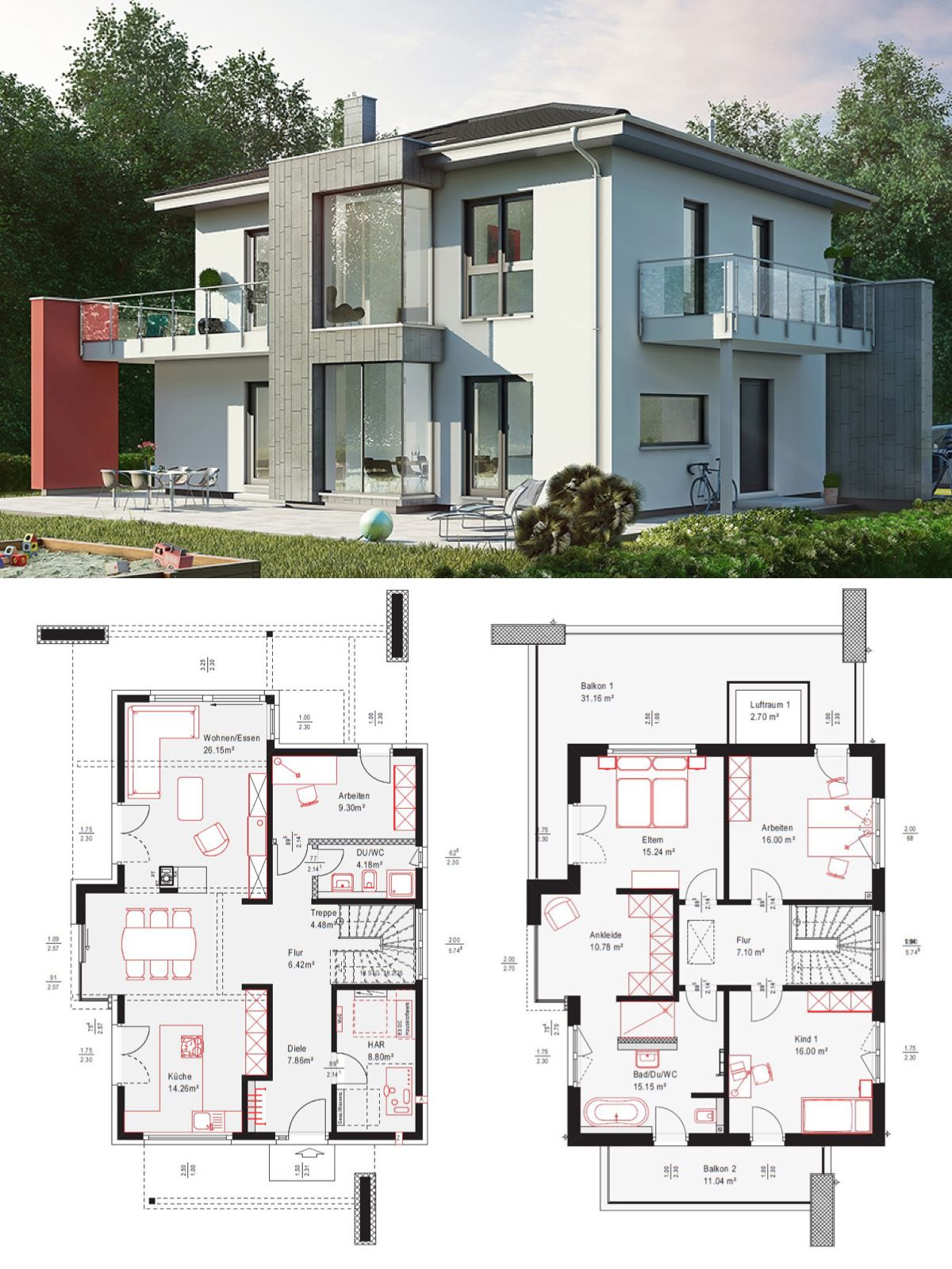 stadtvilla modern mit walmdach architektur loggia fassade rot grau wei einfamilienhaus. Black Bedroom Furniture Sets. Home Design Ideas