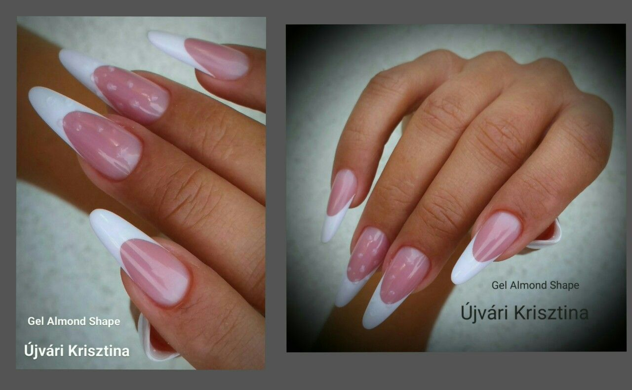 Double Team of almond french manicure | 3. Double Team + ...