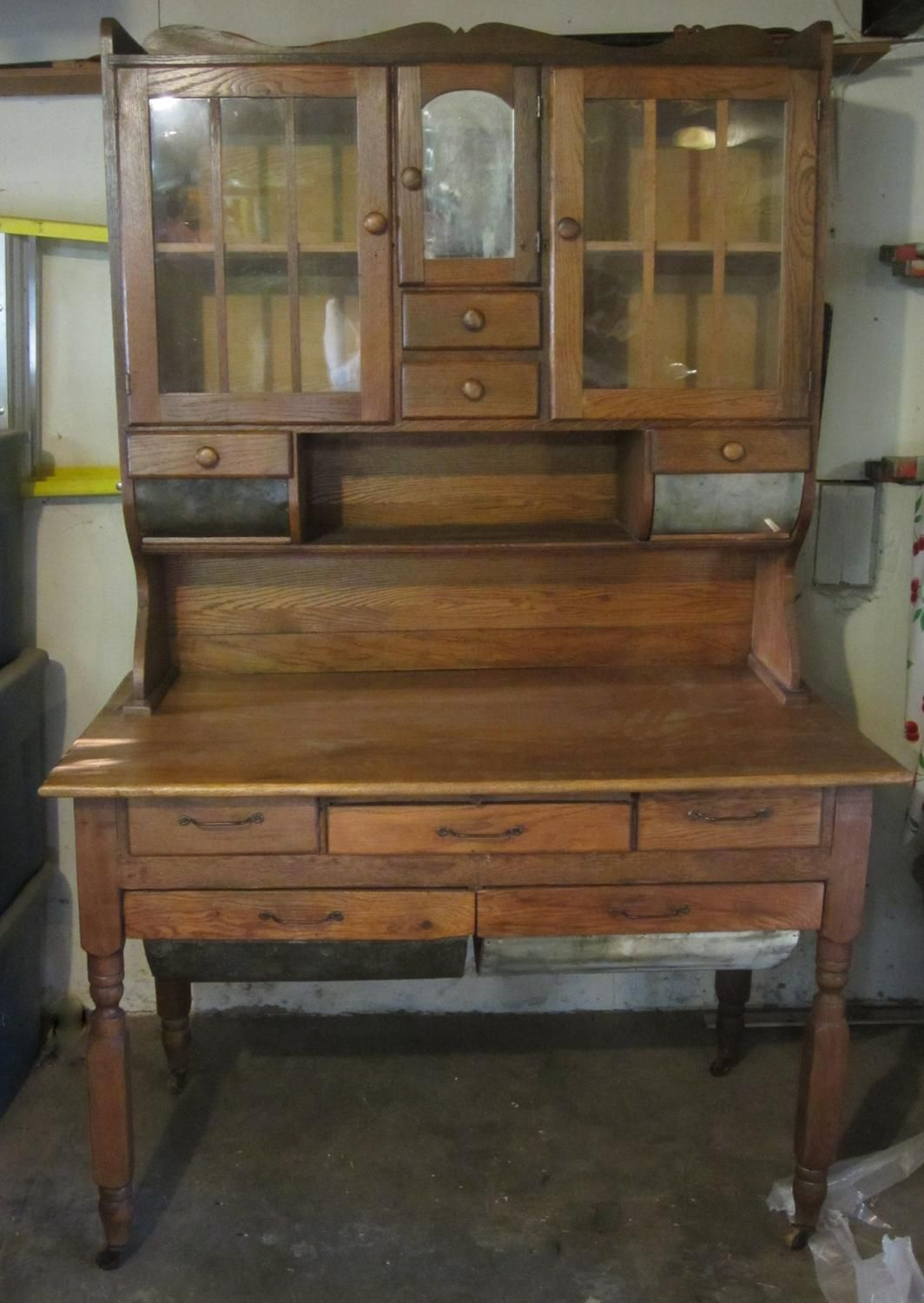 Oak Hoosier Cabinet w/ Possum Belly Drawers | Hoosier cabinet ...