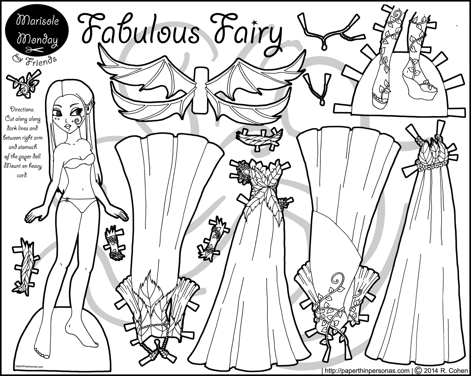 fabulous fairy paper doll coloring page dolls puppet and craft