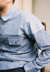 neat chambray shirt for guys...Two Colour Shirt