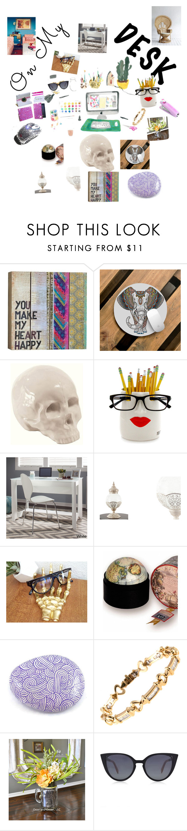 """""""ON MY DESK WHERE OPPORTUNITIES MEET ME"""" by maijah ❤ liked on Polyvore featuring interior, interiors, interior design, home, home decor, interior decorating, Natural Life, Seletti, Bush Industries and Crystal Clear Skincare"""