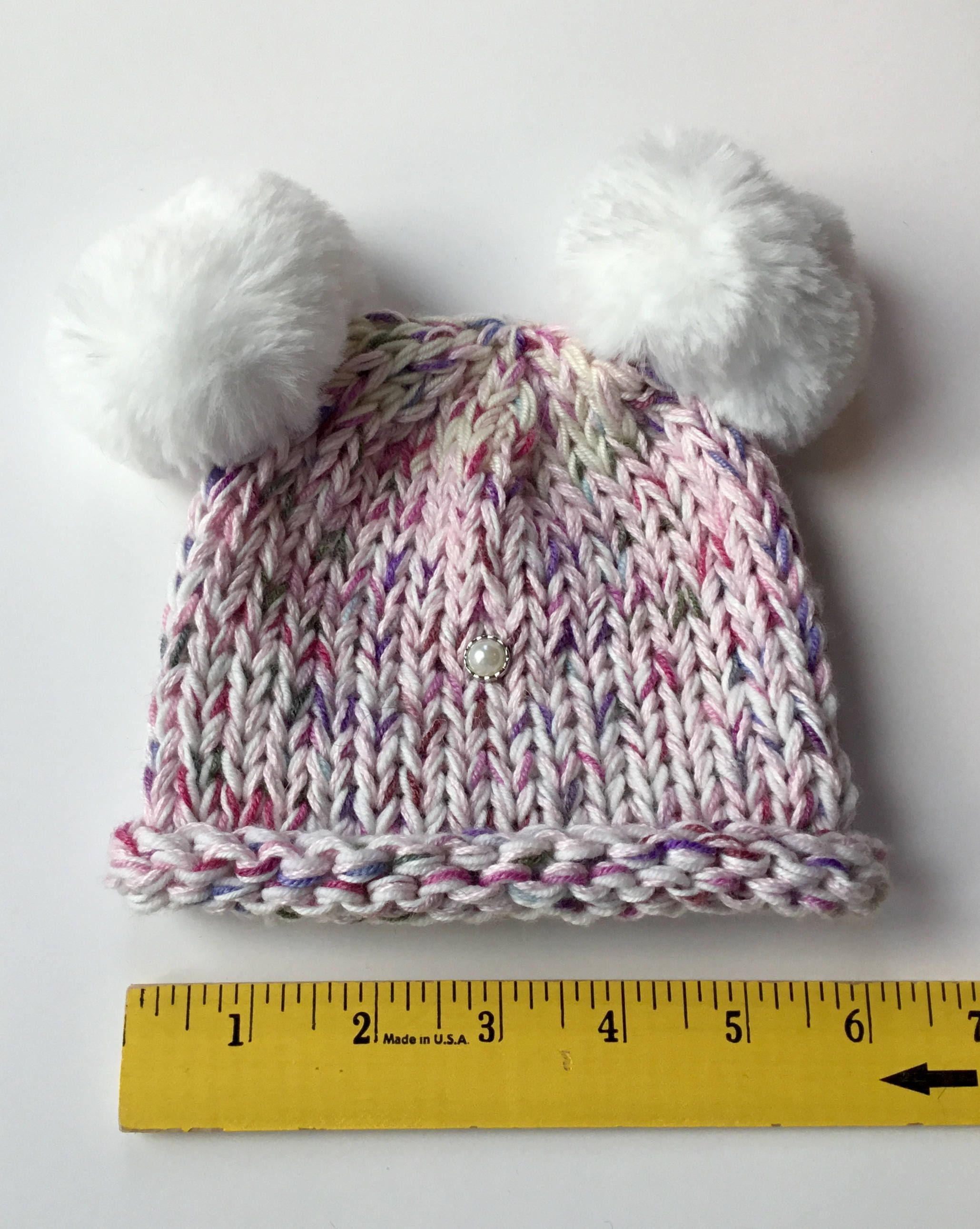 Hand Knit Pink And Purple Baby Hat Hand Knit Baby Girl Beanie With 2 Faux Fur Pompoms Pink And Purple Handmade Baby Girl Beanies Hand Knitting Baby Knitting