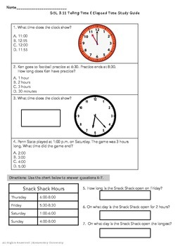 Telling Time / Elapsed Time Study Guide VA SOL 3.11