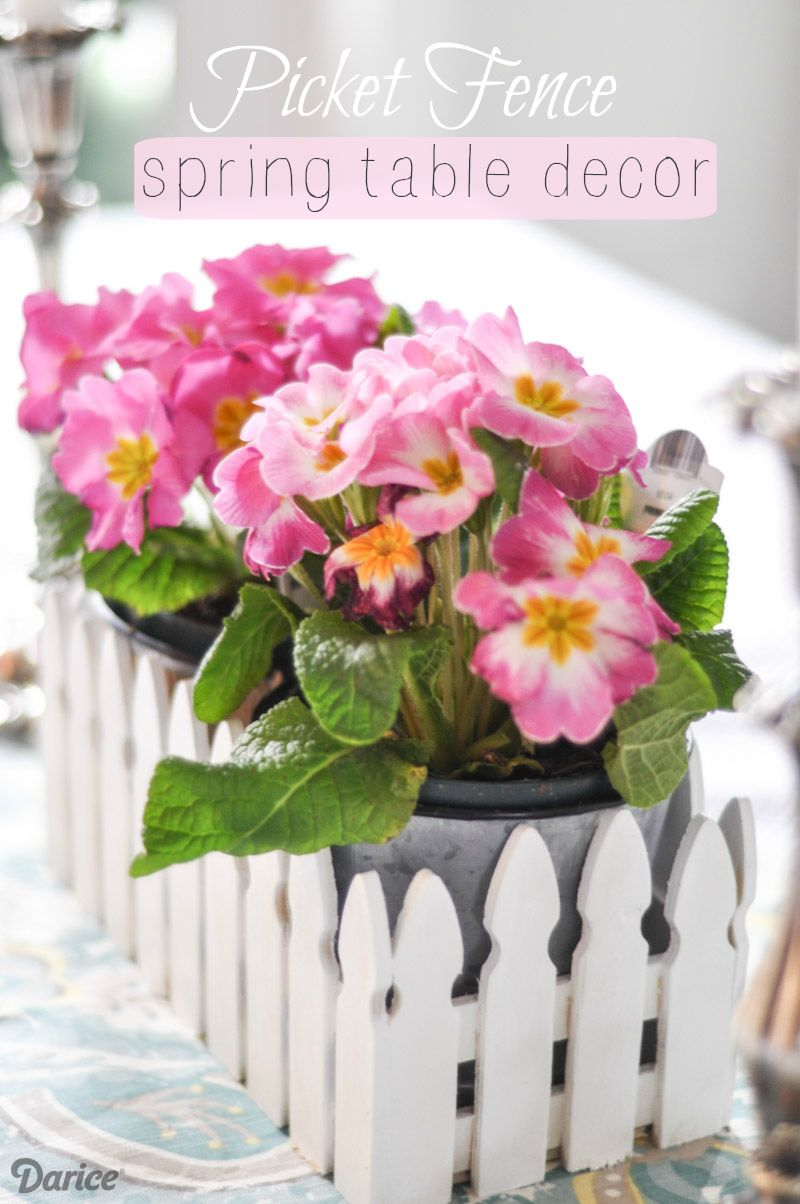 Spring Table Decorations spring table decor: picket fence centerpiece - darice
