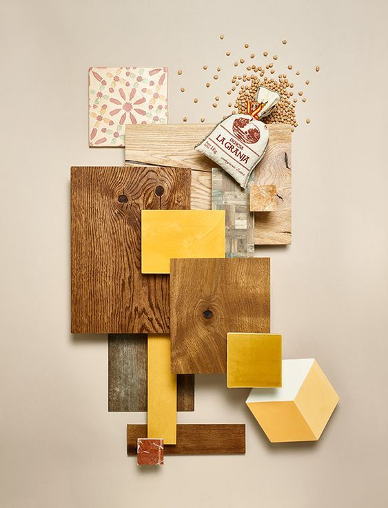 I like this pin because of the color and the shapes of each material. The yellow tiles compliment the wood planks along with the geometric shapes. The spilled seeds add texture and a sense of messiness to the material board. The red tile adds more dynamic color to the space and helps visualize the feel of the space.