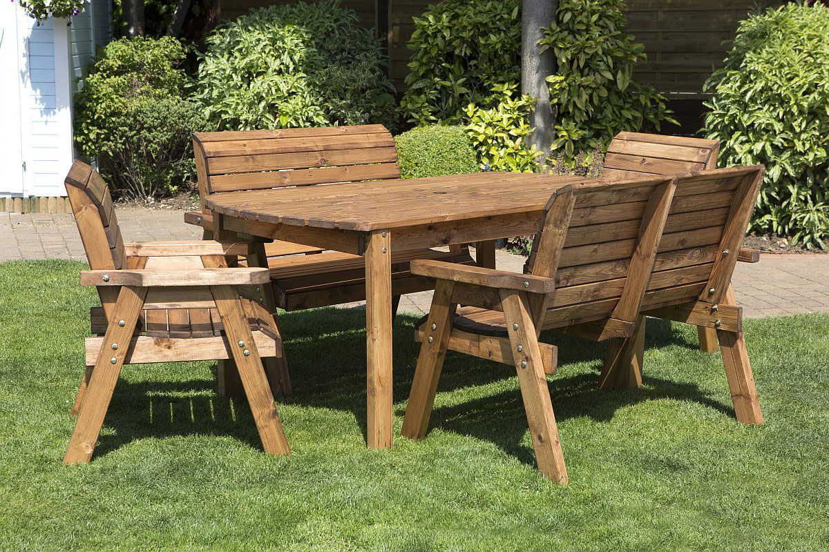 6 Seater Wooden Garden Table Bench Chair Dining Set Solid Wood Outdoor Patio Decking Furniture Wooden Garden Furniture Garden Dining Set Garden Furniture Sets