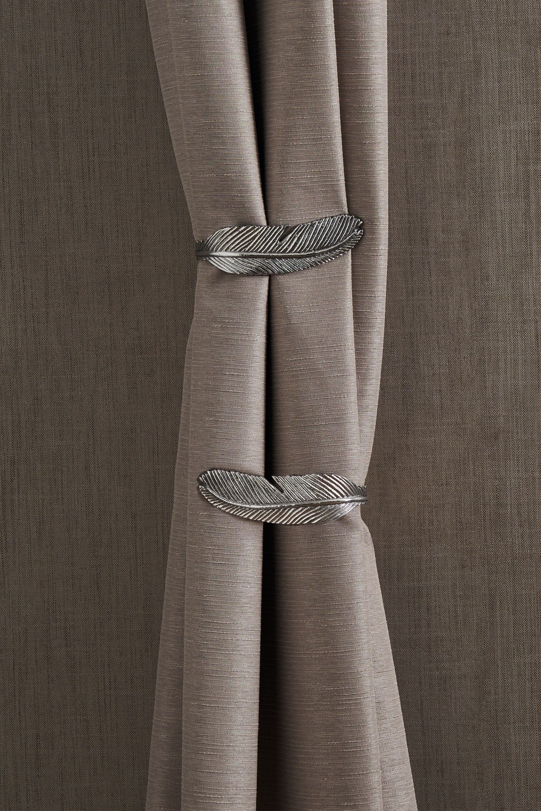 Next Set Of 2 Feather Holdbacks Silver Curtains Curtain Tie Backs Drapery Tie Backs