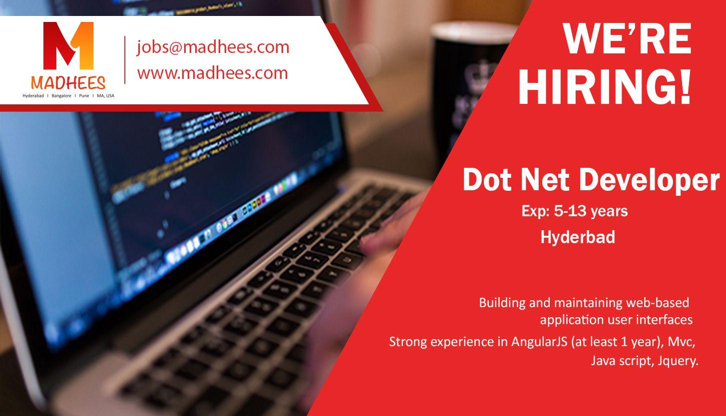 Hiring the talent for Dot net developer (exp: 5-13 yrs) role ...