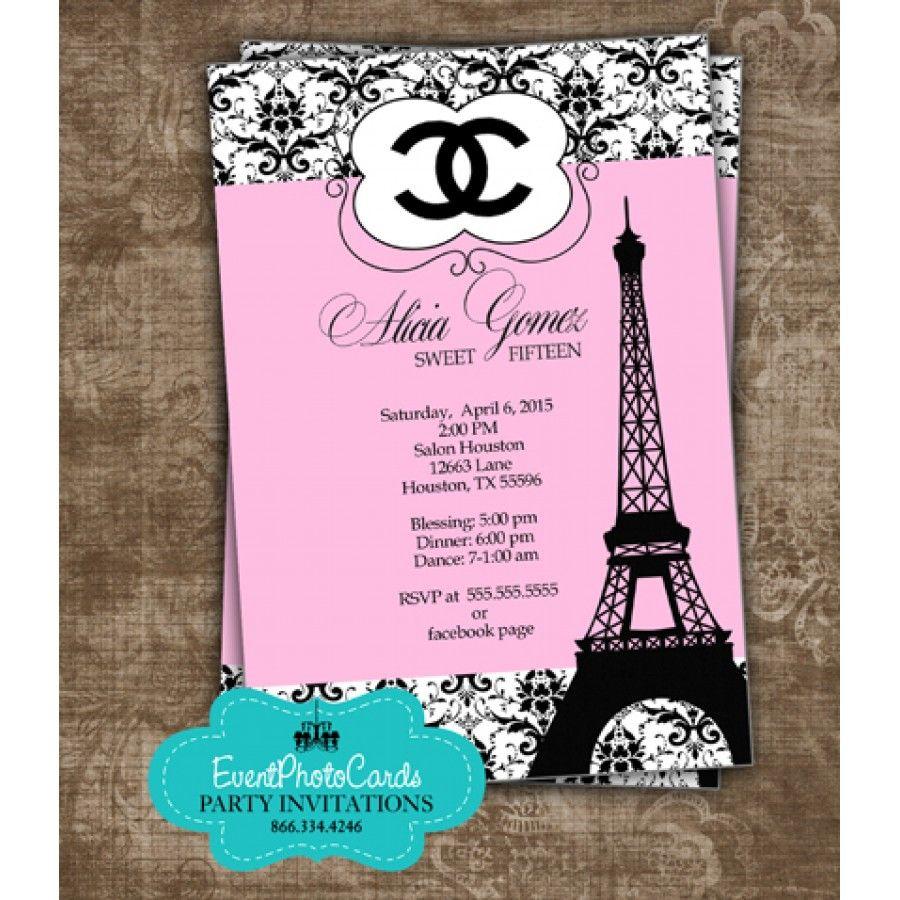 Paris chanel quinceanera invites paris quinceanera party paris chanel quinceanera invites stopboris Choice Image