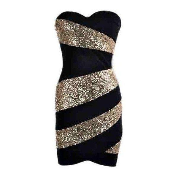 Black Gold Sequin Trim Dress Swirl Dress Black Gold Sequin Dress Strapless Bodycon Dress