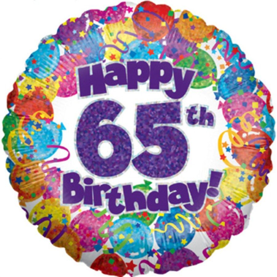 Happy 65th birthday holographic foil balloon 18 for Decoration 65th anniversary