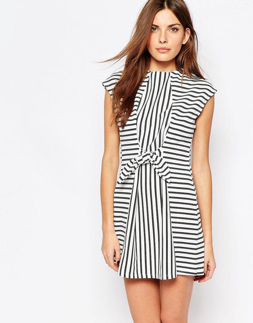 Image 1 ofVero Moda Stripe Tie Waist Detail Dress