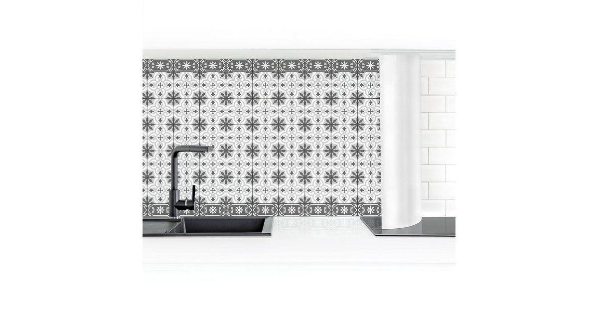Photo of Kitchen back wall »Geometric tile mix cross gray« – bingefashion.com/dekor