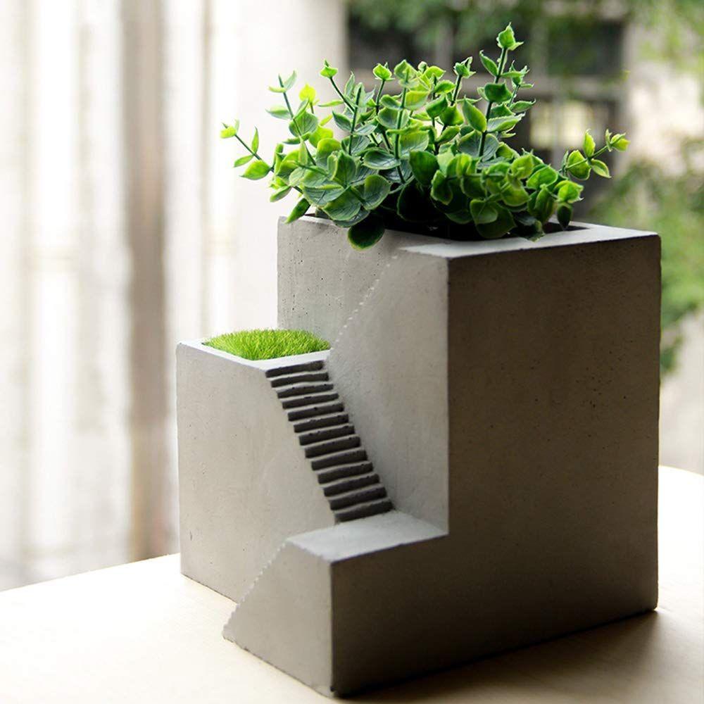Vstylife Concrete Succulent Plant Pot Cactus Cement Pots Silver