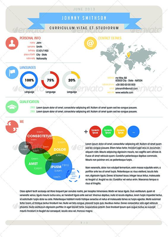 Infographic Curriculum Elements Cv Resume Template  Creative