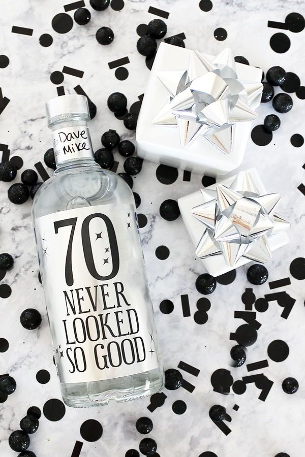 Black And Silver 70th Birthday Metallic Foil Wine Bottle Labels Use These