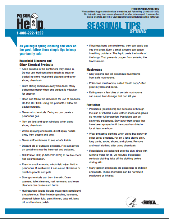 Spring cleaning tip sheet